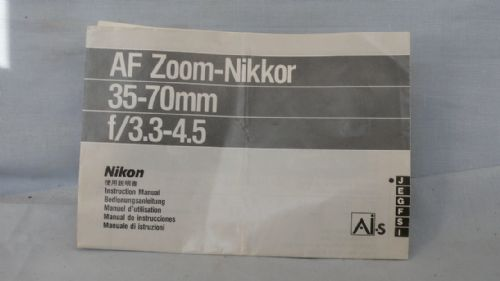 Nikon AF 35-70MM Lens Instructions £1.99